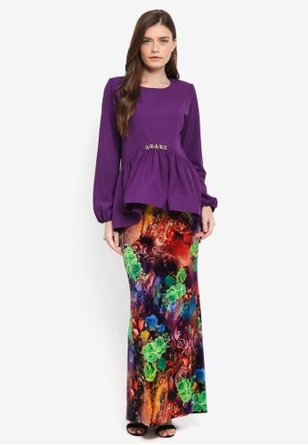 Zuco Fashion purple Midi Peplum High-Low Kurung ZU882AA0SXVFMY_1