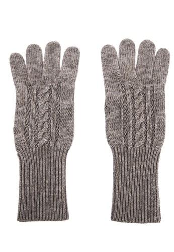坑條紐繩保暖手套 - 深卡其, 飾esprit 兼職品配件, 手套