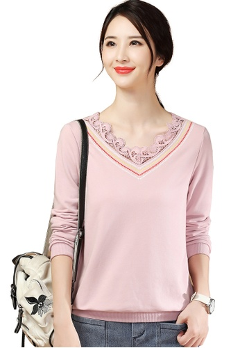 A-IN GIRLS pink Simple Lace Stitching V-Neck T-Shirt 40CCFAA52BD31AGS_1