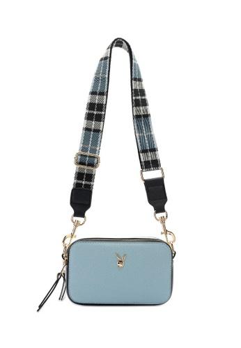 PLAYBOY BUNNY blue Compact Saffiano Sling Bag 61037AC638BAA0GS_1