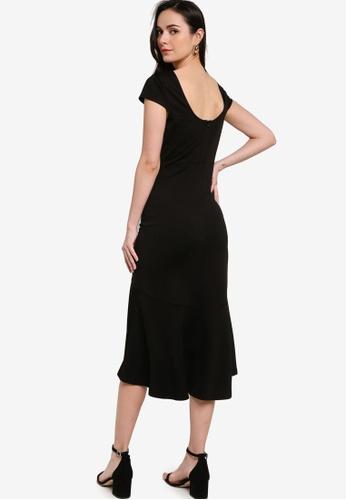 ZALORA WORK black Scoop Back Midi Dress 573FCAAF36CB29GS_1