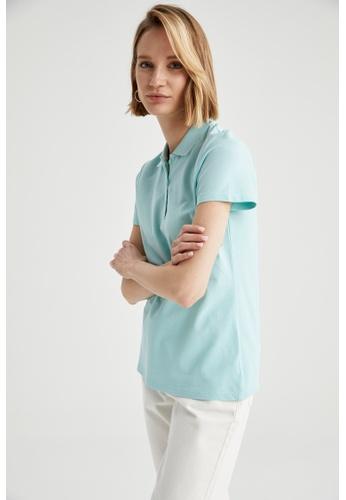 DeFacto green Woman Knitted Short Sleeve Polo T-Shirt 15E48AAB62D5E6GS_1
