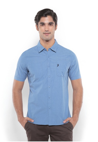 POLO HAUS blue Polo Haus - Men Woven Shirt (Blue) PO783AA86YRHMY_1