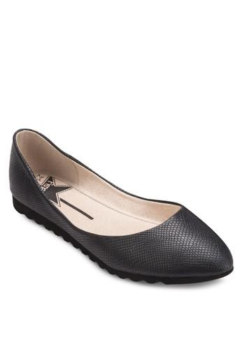 暗紋尖頭平底esprit衣服目錄鞋, 女鞋, 鞋