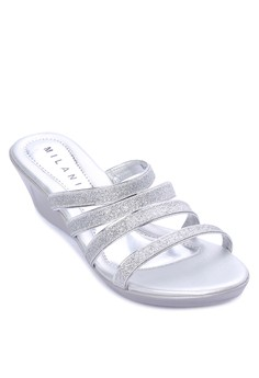 Ave Formal Four Strap Slip-on Low Wedge Sandal