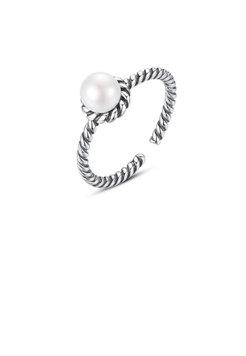 Glamorousky white 925 Sterling Silver Fashion Elegant Geometric Freshwater Pearl Adjustable Open Ring 02321AC05F7836GS_1