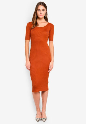 Brave Soul orange Ribbed Midi Dress 05797AA6BD2E7DGS_1