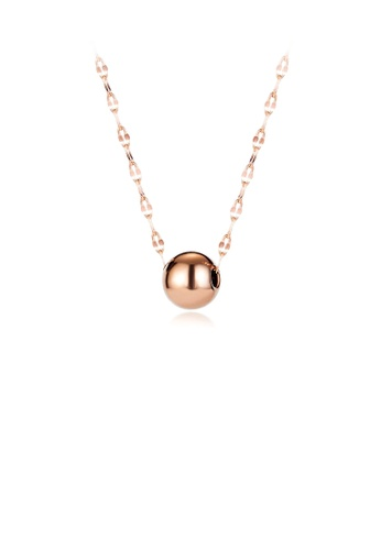Glamorousky silver Simple and Fashion Plated Rose Gold Geometric Round Beads 316L Stainless Steel Pendant with Necklace AD16FACA384200GS_1