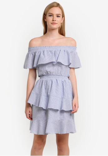 ZALORA blue Collection Seersucker Off Shoulder Ruffle Dress CEF76ZZ4DD2E4DGS_1