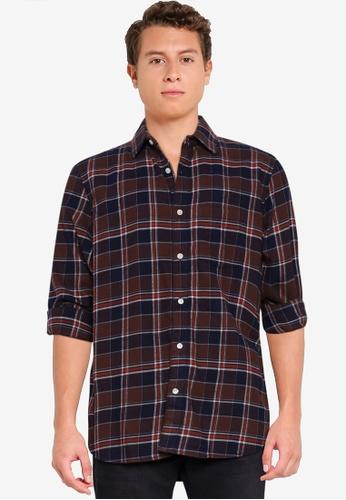 GAP brown Organic Cotton Midweight Flannel Shirt B424EAA282B2FAGS_1