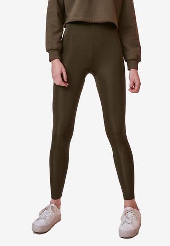 Trendyol 綠色 基本Shiny Disco 緊身褲 D5115AA522F4FDGS_1
