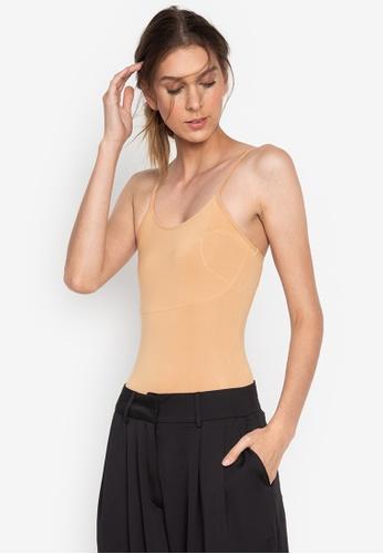 the___edit beige Lera Sleeveless Bodysuit 817B4USB9E6921GS_1