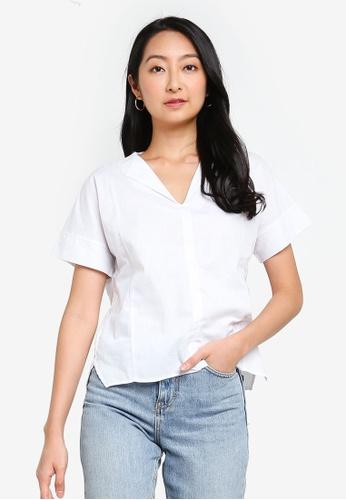ZALORA BASICS white Flap Collar Top E215EAAFC08A08GS_1