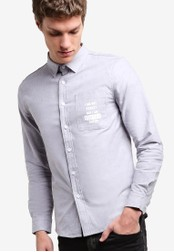 UniqTee blue Slim Fit Shirt With Wording UN097AA74IRHMY_1