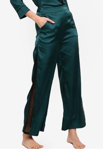 ZALORA BASICS green Lounge Lace Panel Satin Pants 844ECAA04ABDBFGS_1