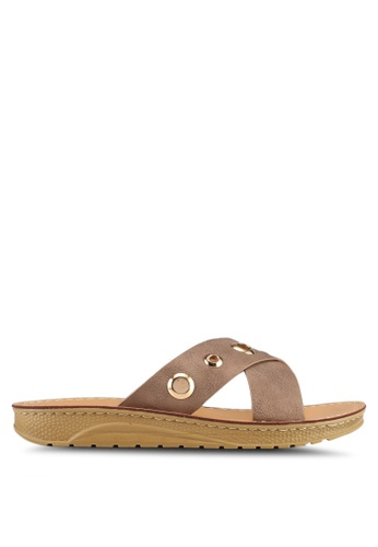 Noveni brown Slide On Sandals DFBFESHCE47DF0GS_1