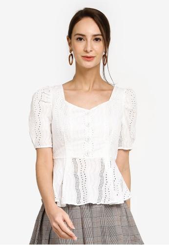 Hopeshow white Square Collar Button Top E5461AAA33A692GS_1