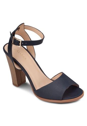 寬帶繞踝木製粗跟涼鞋zalora 衣服尺寸, 女鞋, 高跟