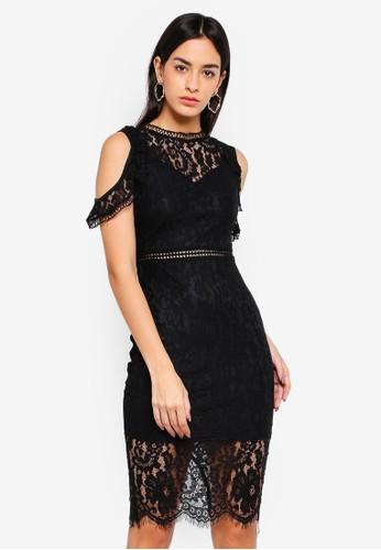 AX Paris black Lace Cold Shoulder Midi Dress E3D02AA87B54B1GS_1
