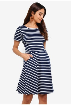 035d4836130 Dorothy Perkins navy Navy Stripe Print Short Sleeve T-Shirt Dress  C2AD8AA7E3D5B8GS_1