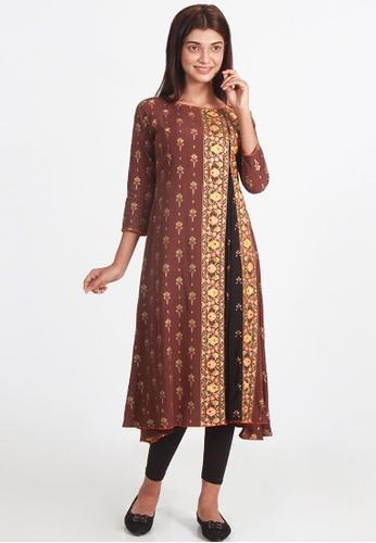 Le Reve brown Le Reve Godet Style A-Line Tunic Dress A06D5AA174E113GS_1