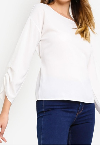 ZALORA white Ruched Sleeves Top E4B67AA0D8D2B0GS_1