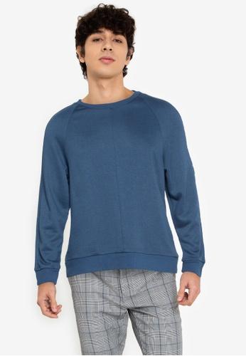 ZALORA BASICS blue Mid-Seam Round Neck Sweatshirt E6264AA705D5F3GS_1