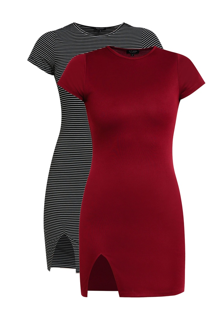 BASICS Bodycon 2 Black Dress Burgundy pack ZALORA White Stripe Sleeves Short Basic w16I10