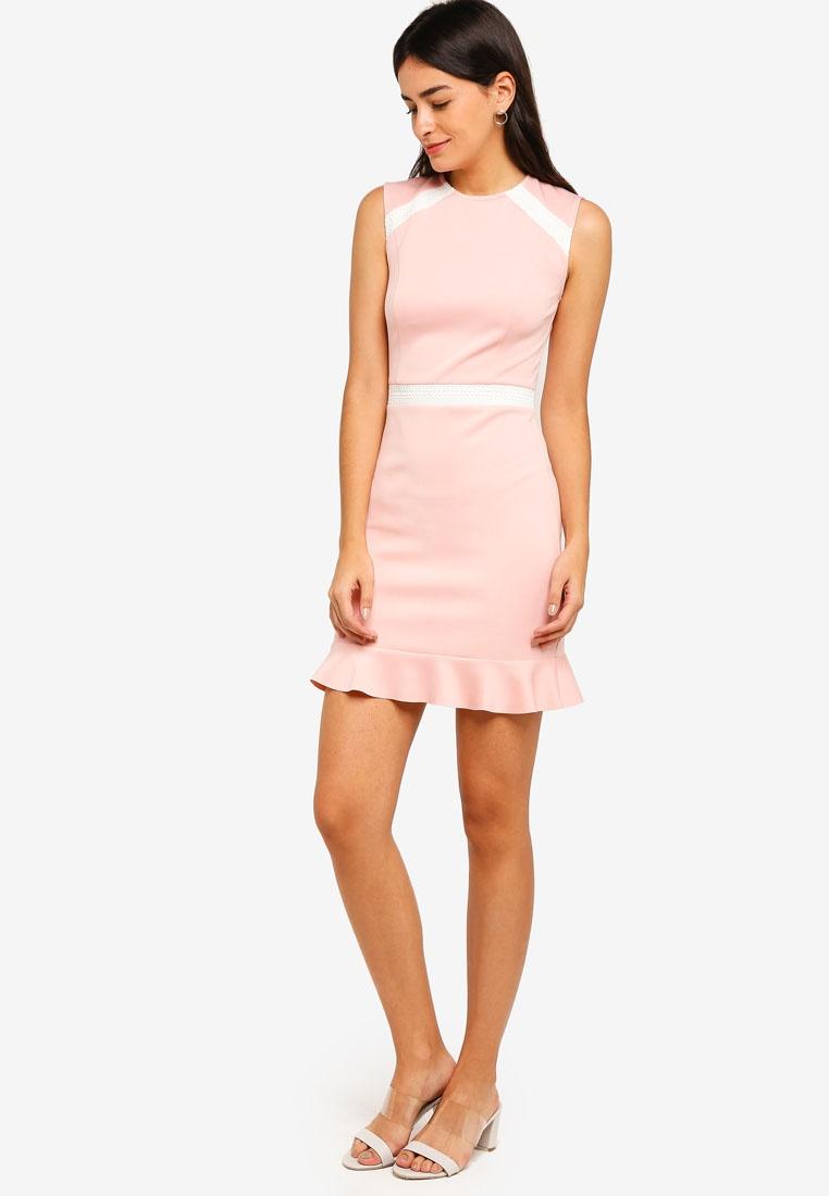 Lace Hem White Detailed Pink Dress Trumpet ZALORA Dusty Off 7q7Er