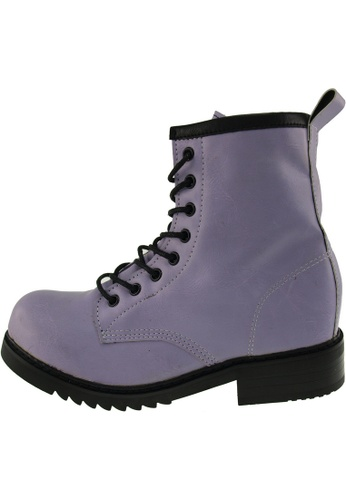 Maxstar 紫色 新款韩国鞋303-Walker時尚皮革布混合女紫色 US Women Size MA345SH83HBOTW_1