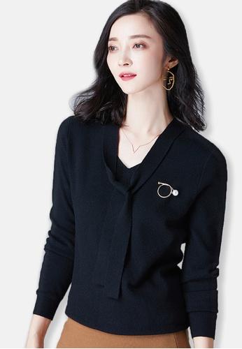 Sunnydaysweety black 2017 F/W Black V-neckline Long Sleeve Top A092747BK SU219AA0G6SGSG_1