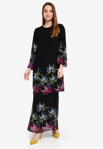 Era Maya black and multi Rainbow Chrysanthemum Prints Baju Kurung Chiffon 64C24AACC22F91GS_1