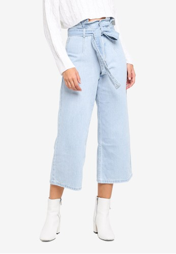 MISSGUIDED blue Paperbag Waist Cropped Wide Leg Jeans E19F2AAACFF8F4GS_1