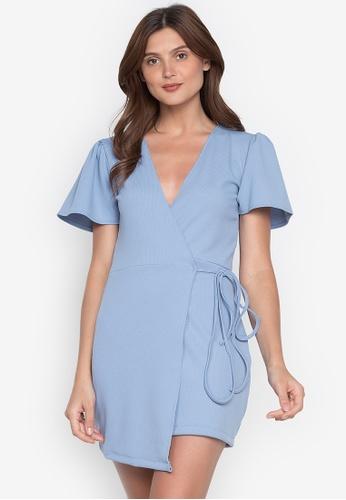 Juanita The Label blue Rebelle Ribbed Wrap Dress 4B571AAA16F988GS_1