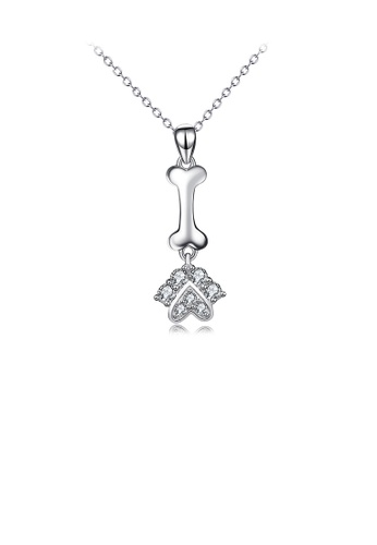 Glamorousky white 925 Sterling Silver Simple Cute Dog Paw Bone Pendant with Cubic Zirconia and Necklace 74CACAC948C6AEGS_1