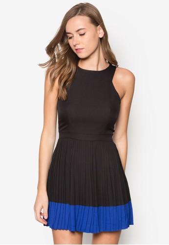 撞色拼接zalora 包包評價百褶洋裝, 服飾, 短洋裝