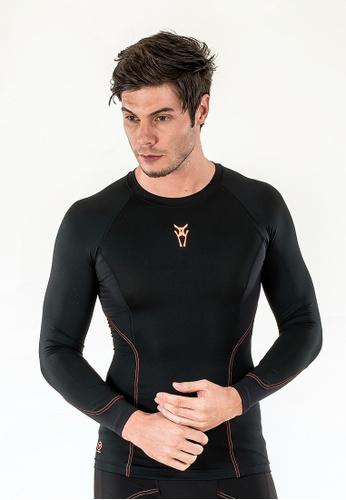 AMNIG black Amnig Men Diligent Compression Long Sleeve (Black/orange) AM133AA78DOJMY_1