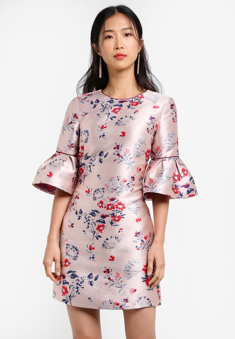 Flare Shift with Fit Desert Jacquard Dress Jacquard Rose ZALORA Sleeves amp; ZX6wOqd