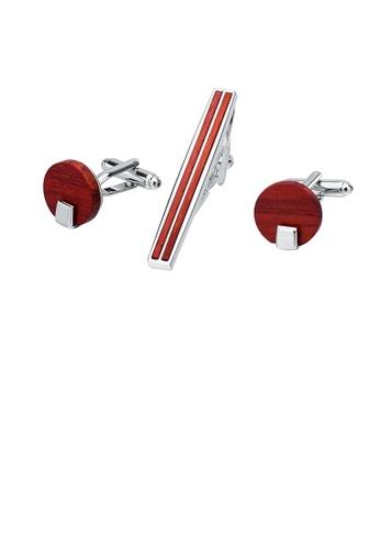 Glamorousky 銀色 簡約時尚紅檀木幾何領帶夾和袖扣套裝 AB974ACE9D8055GS_1