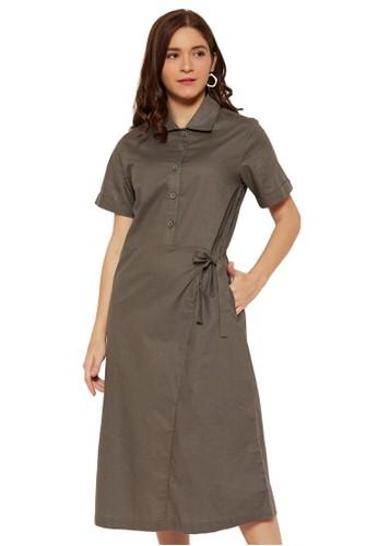 NOA EVERYDAY grey Dress Midi Keyko - Grey 51F14AAB2751BAGS_1