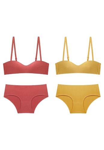 K.Excellence yellow Premium Comforn Orange&yellow Lingerie Set (Bra and Underwear) 746EFUS5B8C86EGS_1