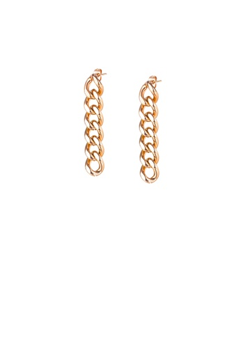 Glamorousky silver Simple Personality Plated Rose Gold Chain 316L Stainless Steel Earrings 928E3AC9F0FB95GS_1