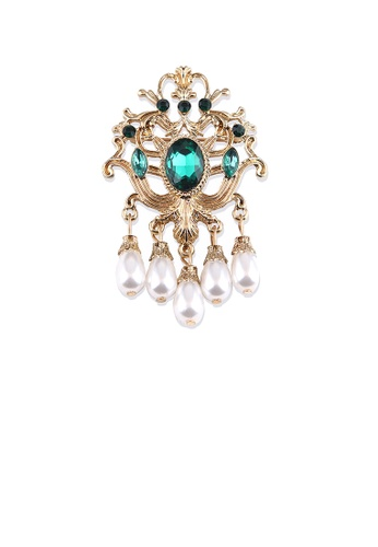 Glamorousky green Fashion Vintage Plated Gold Geometric Pattern Imitation Pearl Brooch with Green Cubic Zirconia 3A1B2AC14B434EGS_1