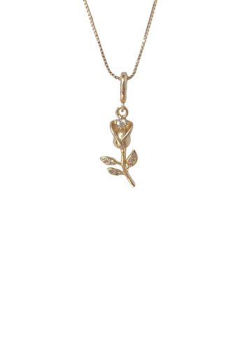 Fleur Jewelry white and gold Baby Rose Birthstone Necklace 15927AC963D9CFGS_1