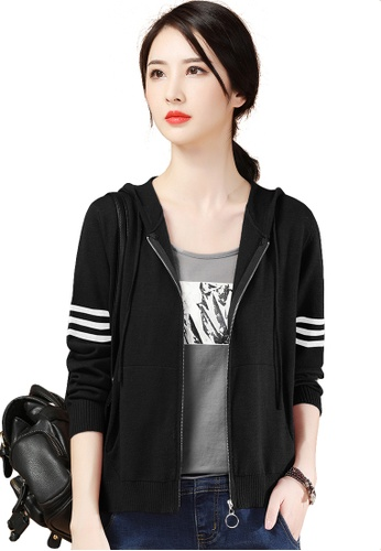 A-IN GIRLS black Retro Striped Hooded Knitted Jacket E7972AA3A1FD8AGS_1