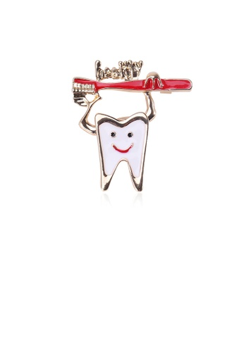Glamorousky silver Simple and Creative Plated Gold Teeth Red Toothbrush Brooch 2E474AC7B276E9GS_1