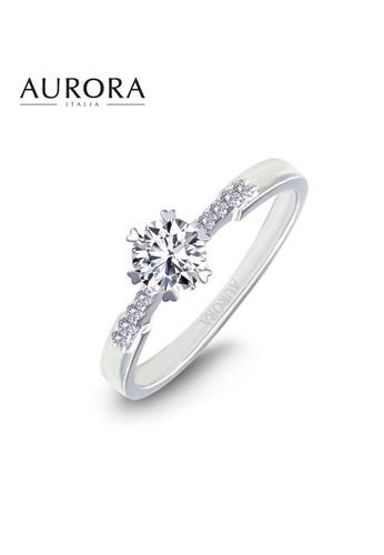 Aurora Italia white Aurora Italia Cincin Swarovski Zirconia Auroses Scalloped Solitaire-18 Karat Emas Putih AB17FAC1810543GS_1