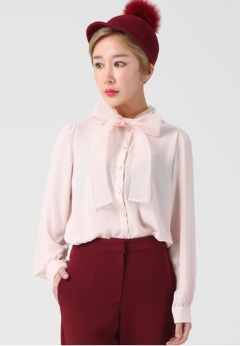 esprit home 台灣韓流時尚 透視蝴蝶結襯衫 F4108, 服飾, 襯衫