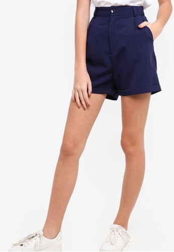 Something Borrowed navy High Waisted Tailored Shorts BB84DAAADCBF8BGS_1