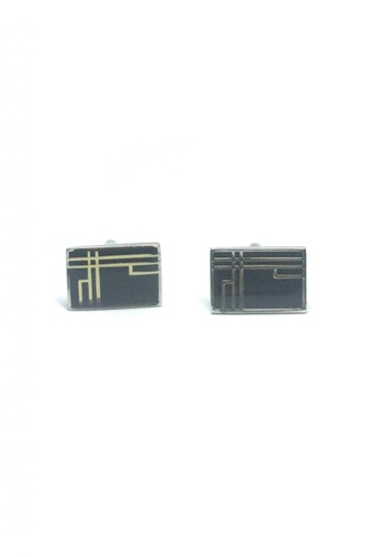 Splice Cufflinks black and silver Black Patterned Rectangle Cufflinks   SP744AC35DUISG_1